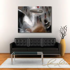 Leanne Laine Fine Art original artist painting displayed above couch of waiter serving at nightclub with crowd