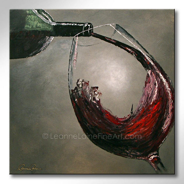 Leanne Laine Fine Art original artist painting of lbottle pouring and splashing red wine into large glass