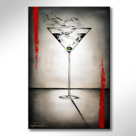 Leanne Laine Fine Art original artist painting of gin vodka martini glass with olive