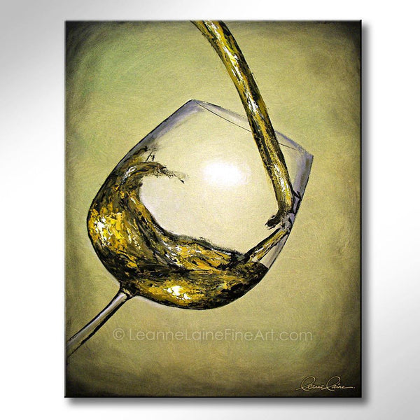 Leanne Laine Fine Art original artist painting of white wine pouring and splashing into glass