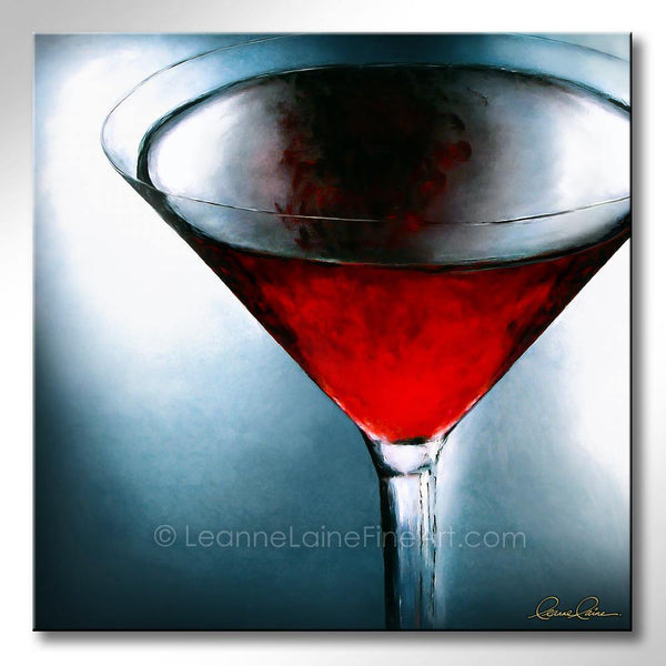 Leanne Laine Fine Art original artist painting of red cosmopolitan martini glass with blue background