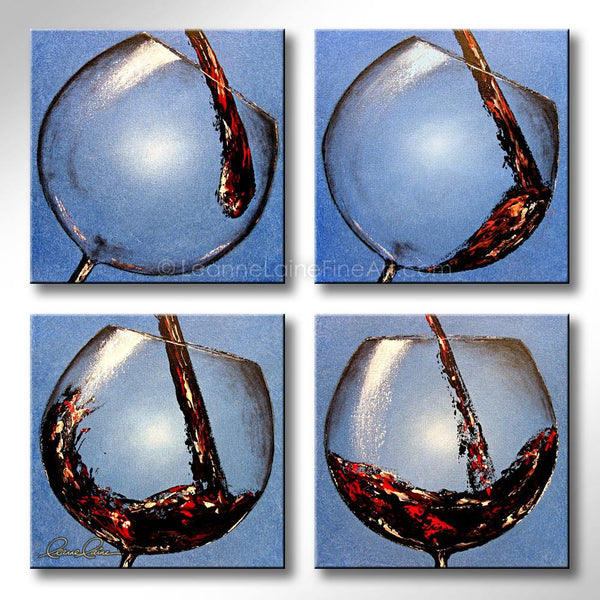Leanne Laine Fine Art original artist painting of red wine pouring and splashing into four wine glasses in order