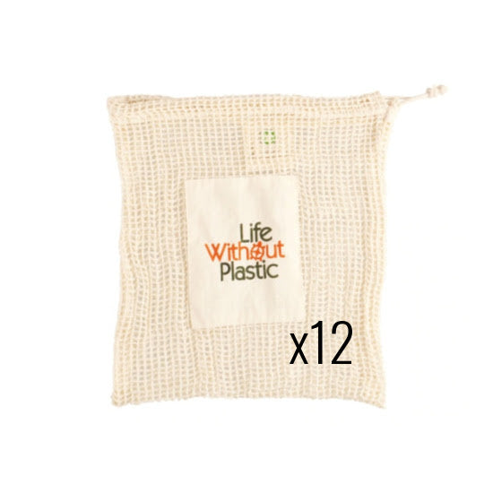 Case of 12 - Organic Cotton Mesh Plastic-Free Produce Bag - Medium