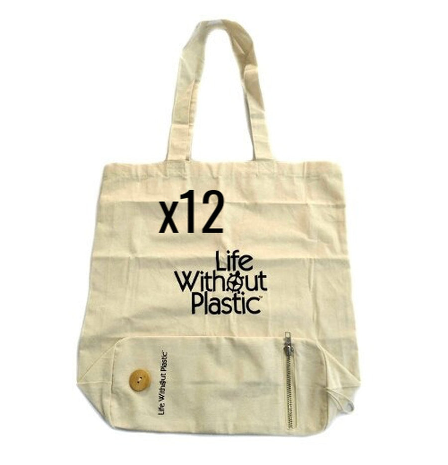 Case of 12 - Organic Cotton Flat-Bottom Compact Portable Shopping Bag - Wood Button Closure