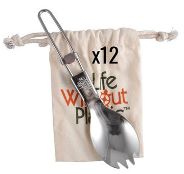 Case of 12 - Stainless Steel Folding Spork with Organic Cotton LWP Pouch