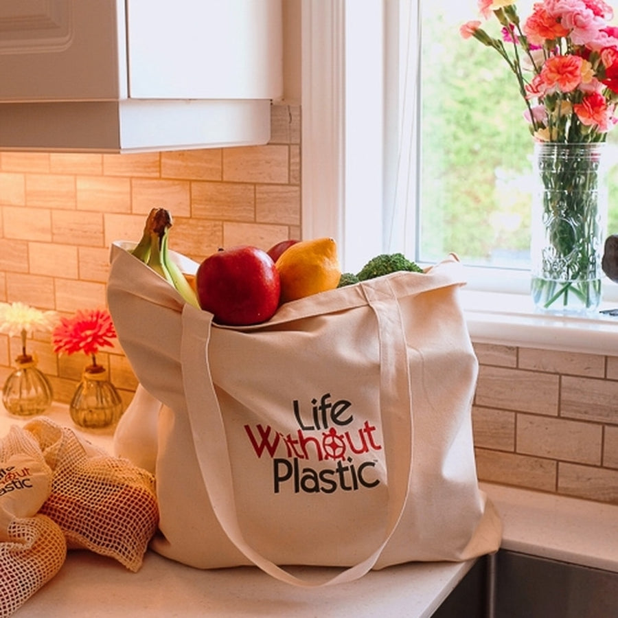 Case of 12 - Organic Cotton Plastic Free Portable Shopping Bag