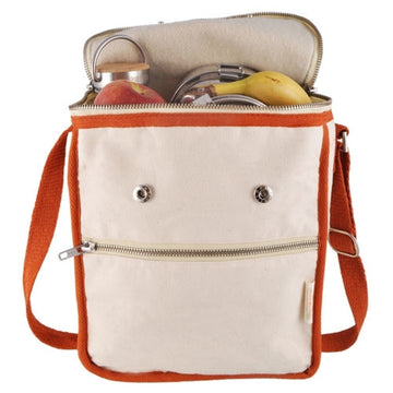 Wool Insulated Natural Lunch Bag - Orange Trim