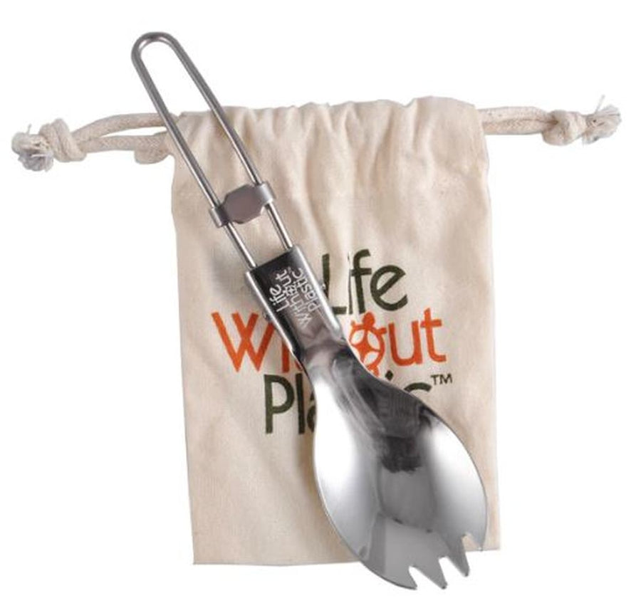 Stainless Steel Folding Spork with Organic Cotton LWP Pouch