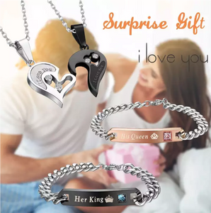 Loving Couple Set Bracelet (Buy 1 Get Free Couple Necklace)