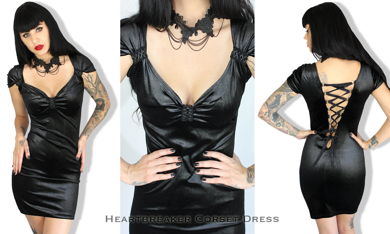 Demi Loon Pinup Clothing, Corset Dress, black velvet dress, corset back dress