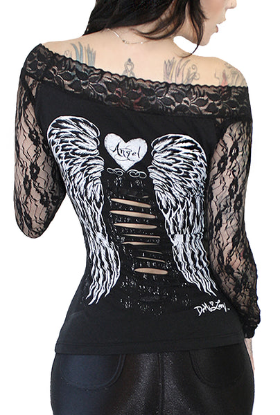Gothic Angel Tattoo Wings Lace Sleeve Tee