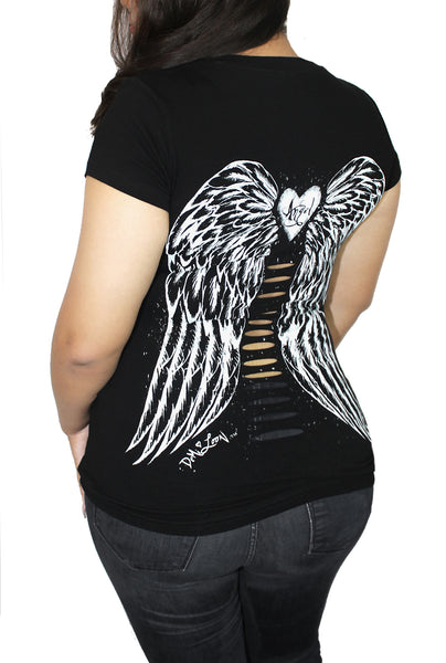 Gothic Angel Wings Tattoo Cut Out Tee- Curve Black