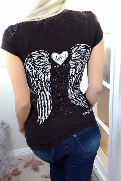 Gothic Angel Wings Tattoo Tee- Black