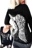 Gothic Angel Wings Tattoo LS Tee- Black