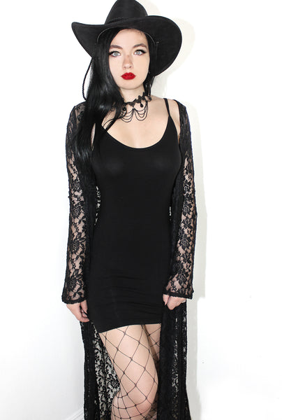 Baby Angel Gothic Strappy Mini Dress- Black