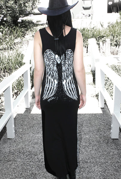 Gothic Angel Maxi Dress- Black