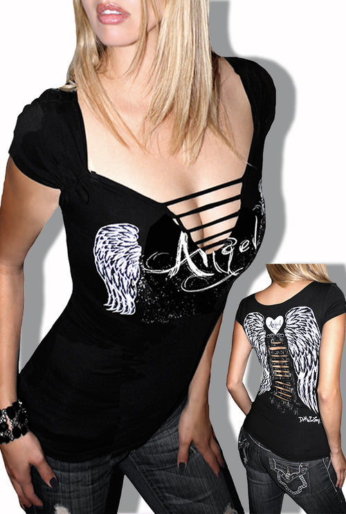 fb296de8 Classic Angel Wing Tattoo Pinup Biker Slashed Tee- Black SS