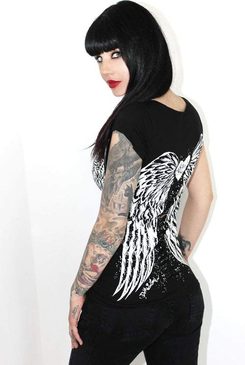 Classic Angel Wing Tattoo Pinup Biker Slashed Tee- Black SS