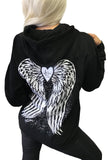 Fallen Angel Wings Tattoo Hoodie- Black