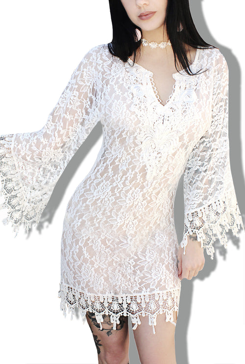 White Witch Pastel Goth Crochet Mini Dress