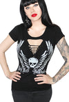 Holy Hell Skull Wings Tattoo Slash Tee- Black