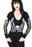 Holy Hell Long Sleeve V-Neck Sexy Slashed Gothic Biker Tee- BLK