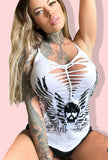 Holy Hell Bombshell Slashed Heart Crochet Cami- White