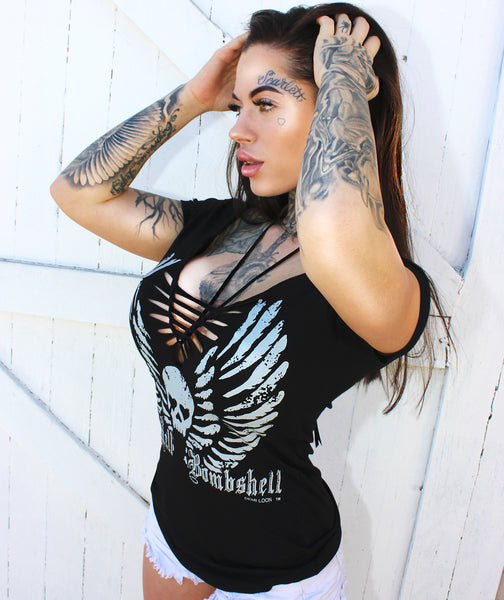 Holy Hell Bombshell Angel Skull Wings Rio Slash Tee- Black
