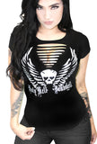 Holy Hell Bombshell Angel Skull Wings Biker Slash Tee- Black
