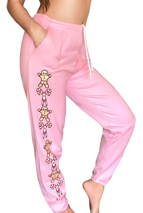 Gingerbread Dreams Drawstring Graphic Christmas Sweats- Pink