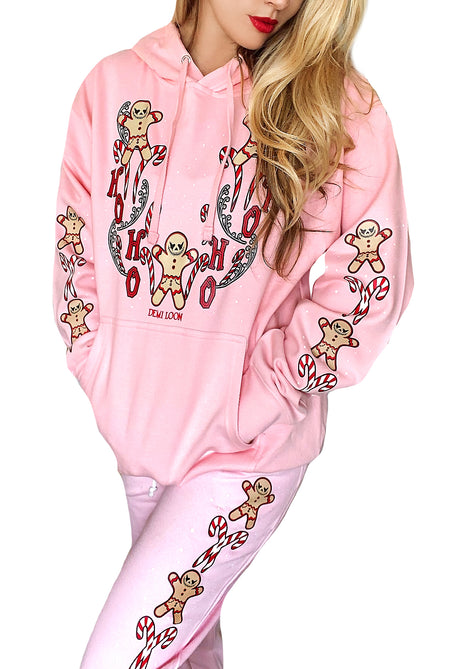 CUT-OUT Gingerbread Dreams Cute Graphic Christmas hoodie-Black