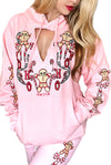 CUT-OUT Gingerbread Dreams Cute Graphic Christmas hoodie- Pink