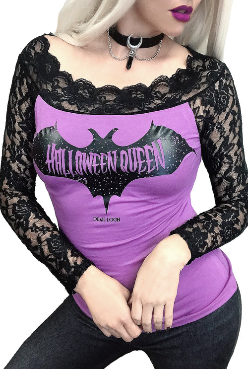 Halloween Queen Gothic Lace Sleeve Tee