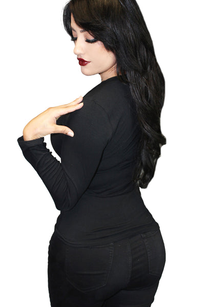 Vampira Lace Up Corset Long Sleeve Tee -Black