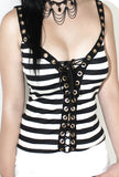 Luna Tie Me Up Corset | Black White Stripes