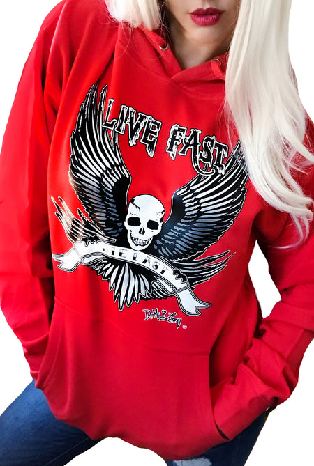 Angel Rose Tattoo Wings Gothic Boyfriend Hoodie-Black