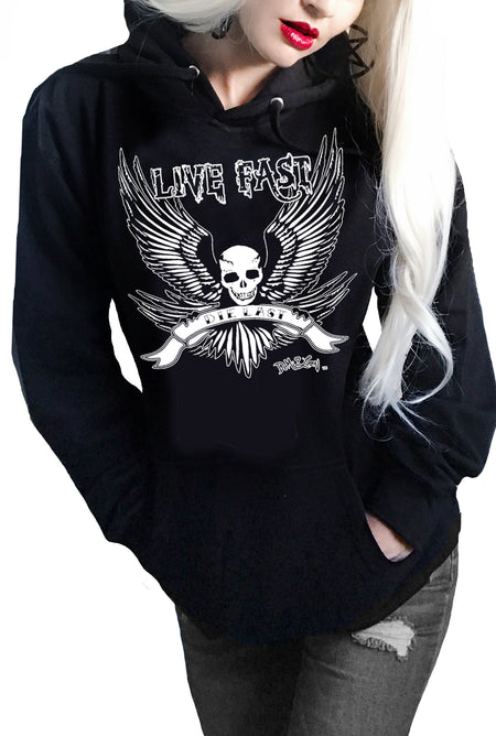 American Gypsy Distressed Boyfriend Hoodie-Black