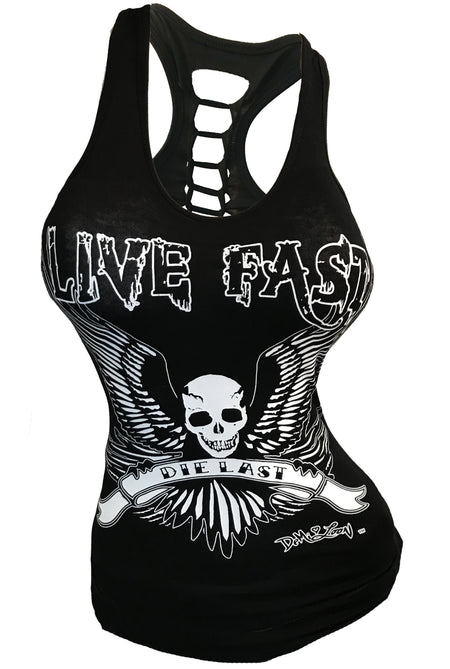 Live Fast Sexy Slashed Biker Tattoo Bow Tee- Black
