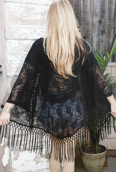 Midnight in Paris Kimono Coverup- Black