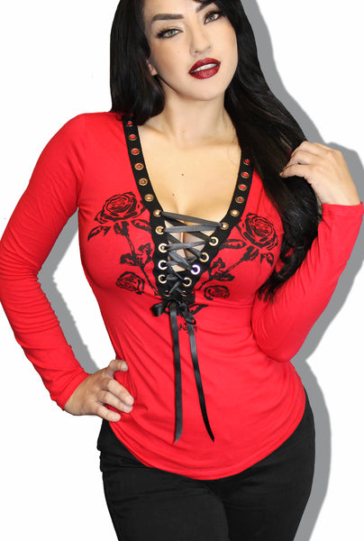 Nashville Rose Gothic Cowgirl Corset Tee- Red