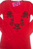 Nashville Rose Deep V Tee Red