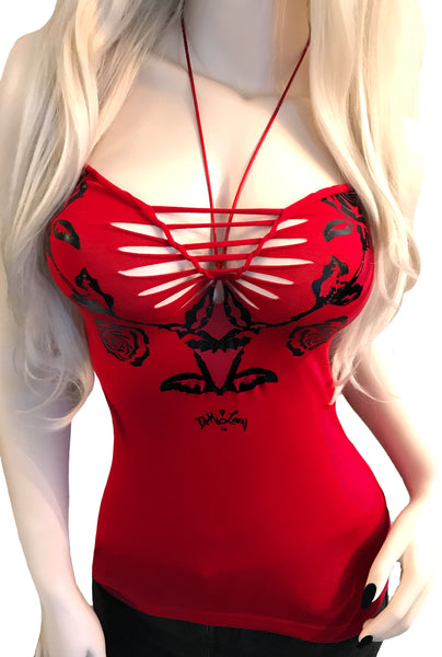 Blood Rose Rio Slashed Halter Top