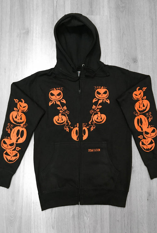 Pumpkin Halloween Boyfriend Fit Zip Up Hoodie
