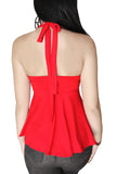 Not Your Babydoll Gothic Padded Pinup Halter Top- Red