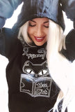 Gothic Pullover Cat Hoodie- Pepper Noir gothic clothing