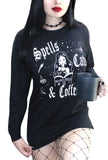 Spells Cats & Coffee Long Sleeve Boyfriend LS Tee- Black