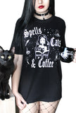 Spells Cats & Coffee Boyfriend SS Tee- Black