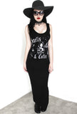 Spells Cats & Coffee Gothic Maxi Dress- Black