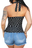Sookie Padded Pinup Halter Top- BW Polka Dot