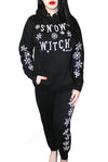 Snow Witch Drawstring Graphic Sweat Pants- Black